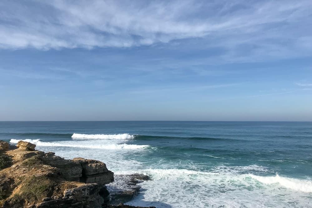 Local surfers at the lefthander called Esquerda Moita in Ericeira