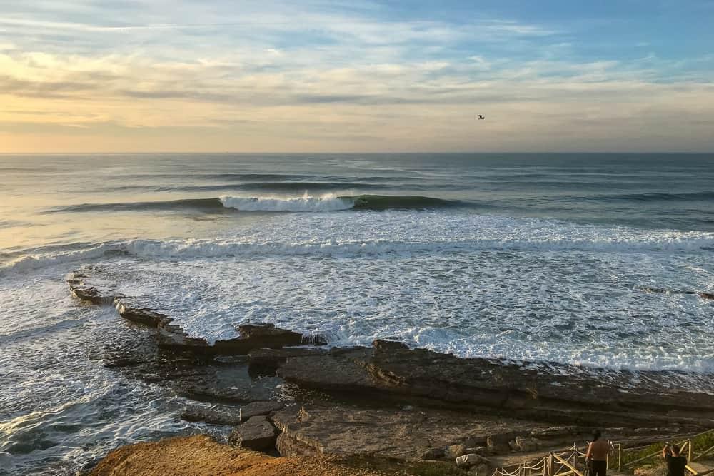Surfing a barrel at Pedra Branca