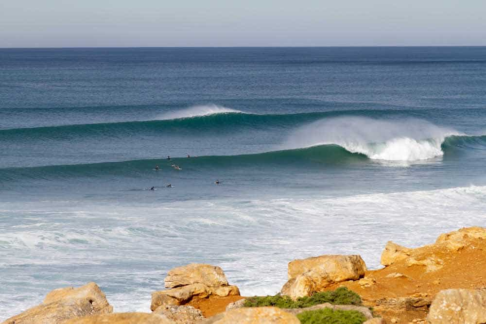Clean waves at the surf spot Reef, just north of Ericeira