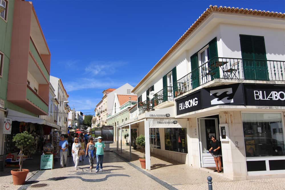 Street in the center of Ericeira with the Billabong store