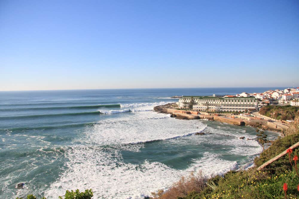 Waves breaking next to the village Ericeira in Portugal