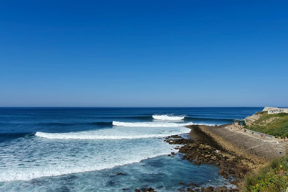 The famous righthand wave on the south side of Forte da Praia da Consolação