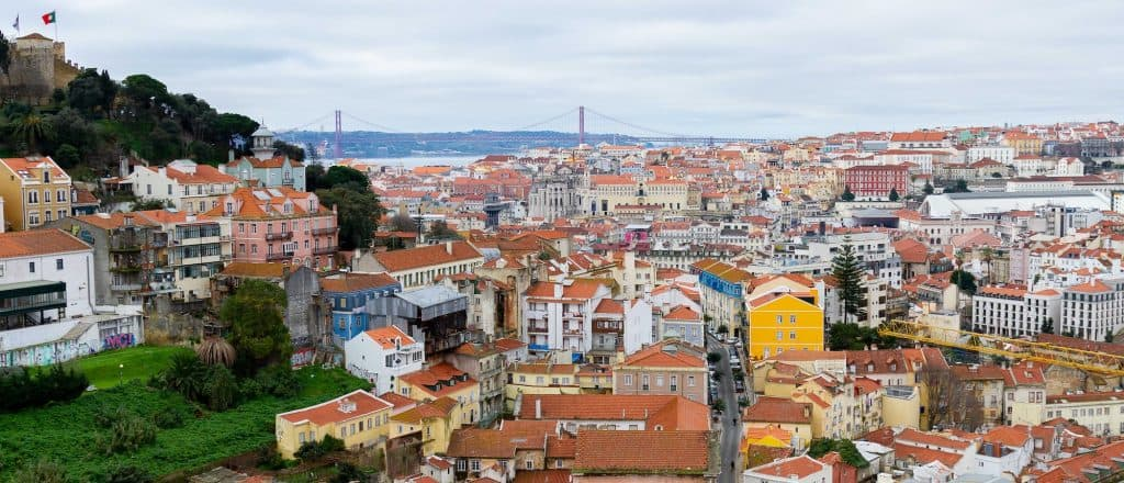 Scenic view of Lisbon with the Tagus river and Ponte 25 de A