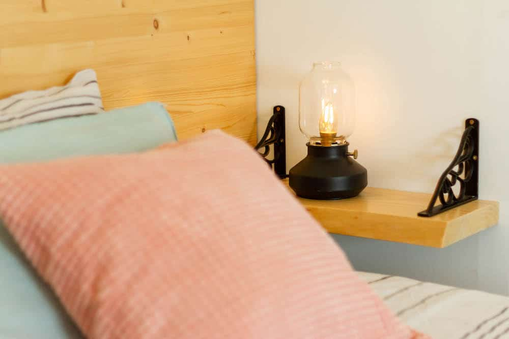 Light with dimmer on a bedside table