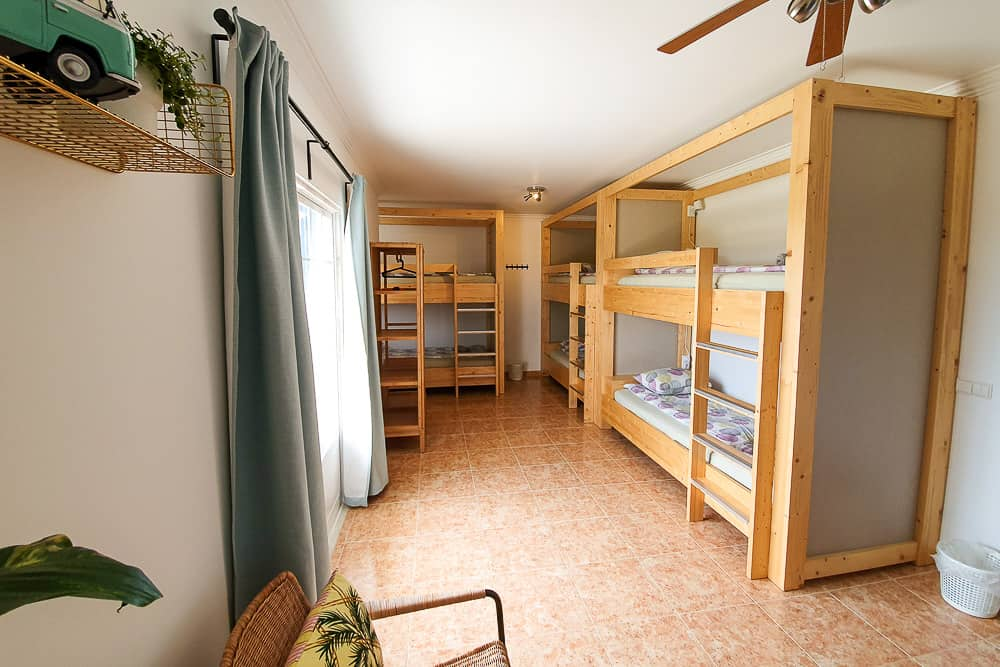 Handmade bunk beds with lots of privacy in a shared room