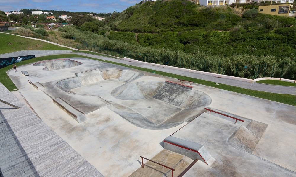 The skatepark at the Quiksilver Boardriders store with multiple bowls and rails