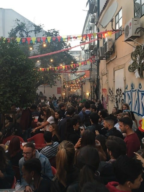 Crowded streets in Lisbon during the Sardine Festival